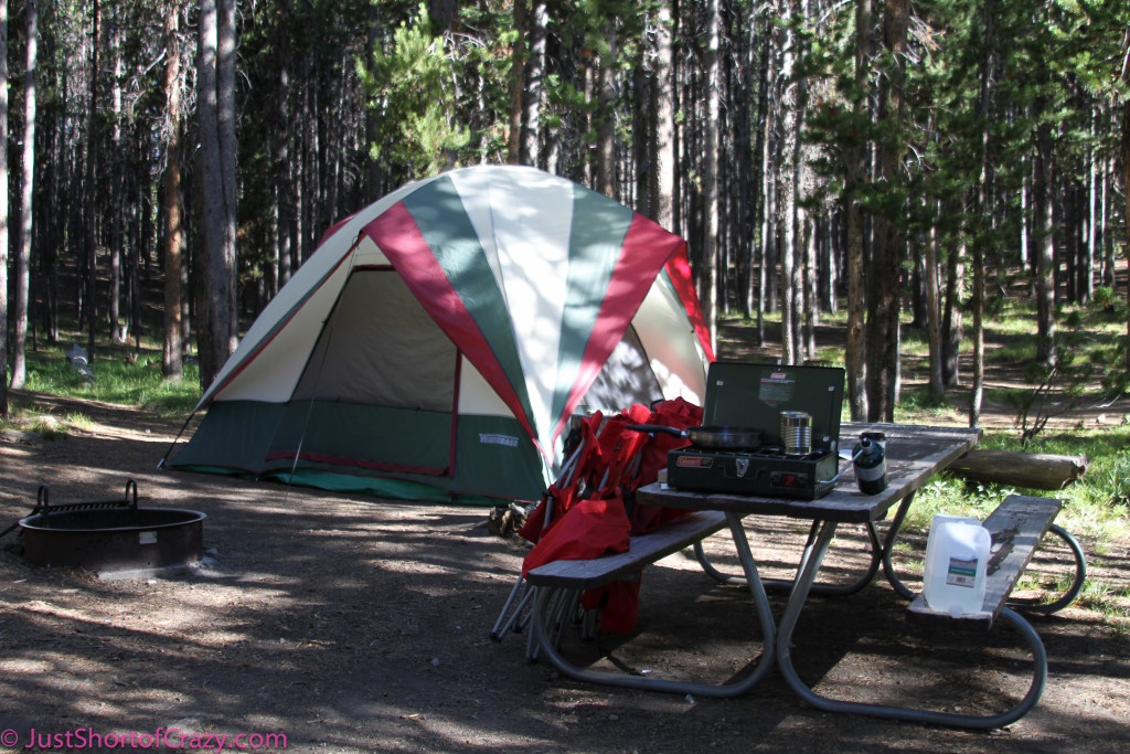 Tent set up at Canyon Campground at Yellowstone National Park