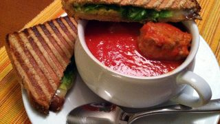 Tomato-Meatball Soup with Grilled Cheese