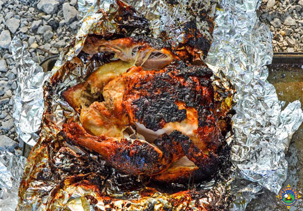 Wood Fired Roasted Chicken in Campfire Recipe