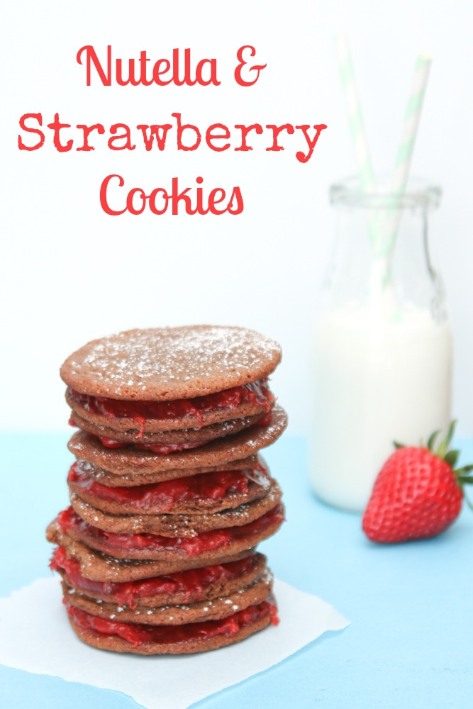nutella strawberry cookies