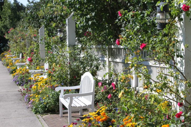 Grand Hotel gardens in full bloom on Mackinac Island