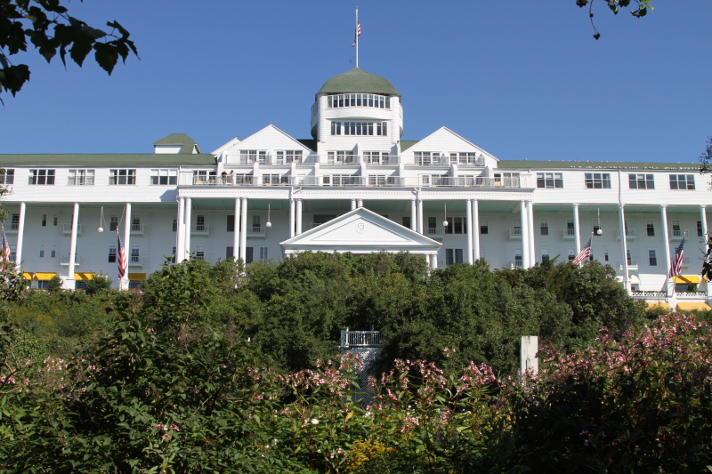 Front of the majestic Grand Hotel on Mackinac Island