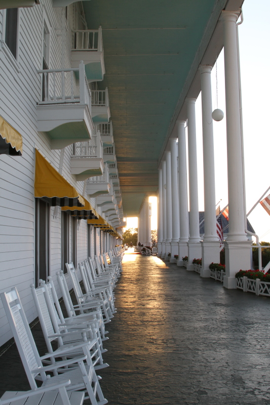 Grand Hotel front porch complete with an endless row of white rocking chairs on Mackinac Island