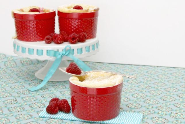 Lemon Raspberry Sponge Pudding