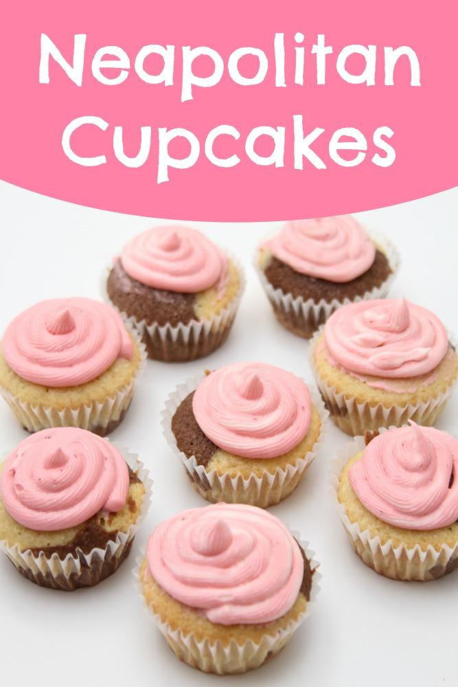 Neapolitan Cupcakes Recipe - Just Short of Crazy