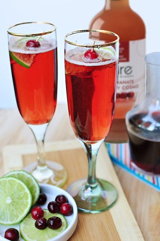 Bare Cranberry Pomegranate Bellini's with Lime Cocktail Recipes with Champagne