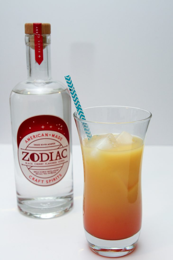 Zodiak Black Cherry Vodka Sunset Cocktail