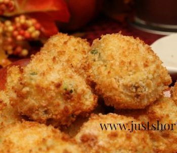 pea and sausage risotto-balls