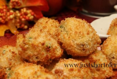 pea and sausage risotto-balls