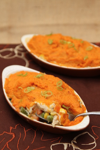 Make this Leftover Turkey Casserole with Sweet Potatoes as a delicious after Thanksgiving casserole using up leftovers while providing a new meal!