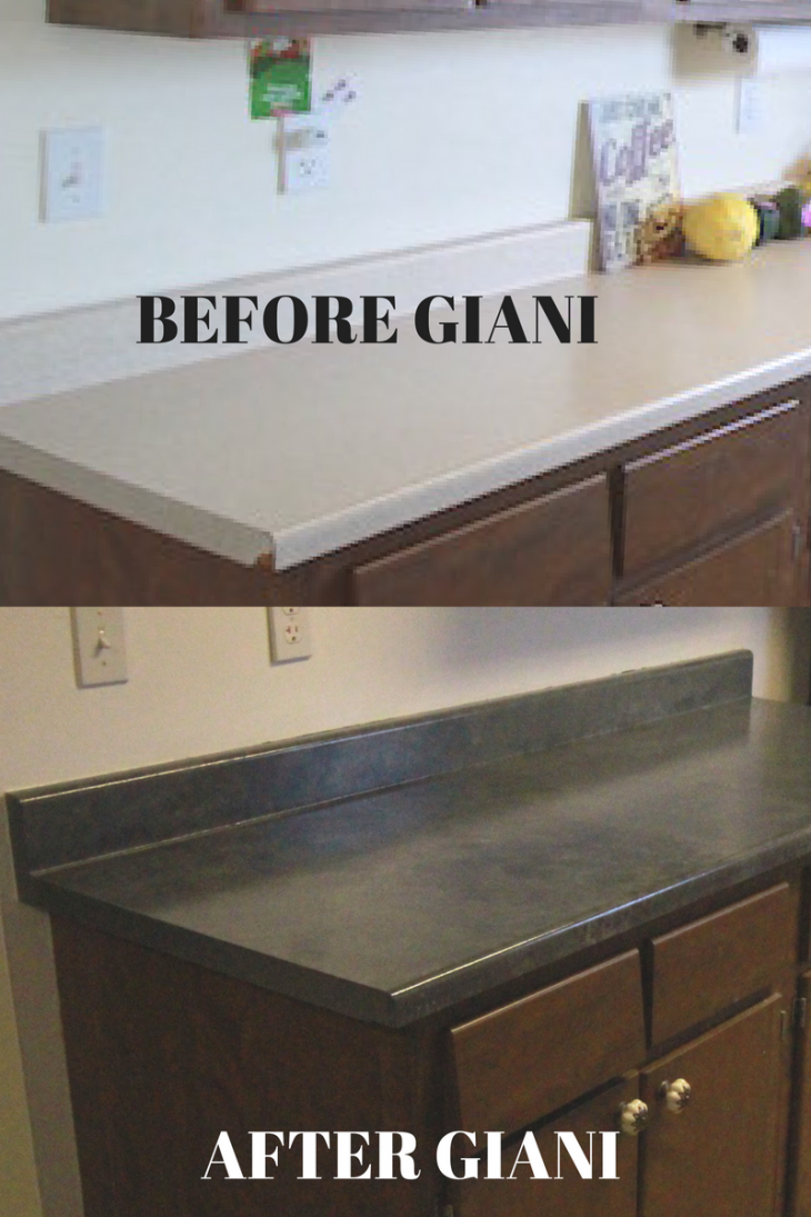 Countertop Paint Before And After : How To Paint Countertops with Giani #SmallHouseLiving - Just Short of ...