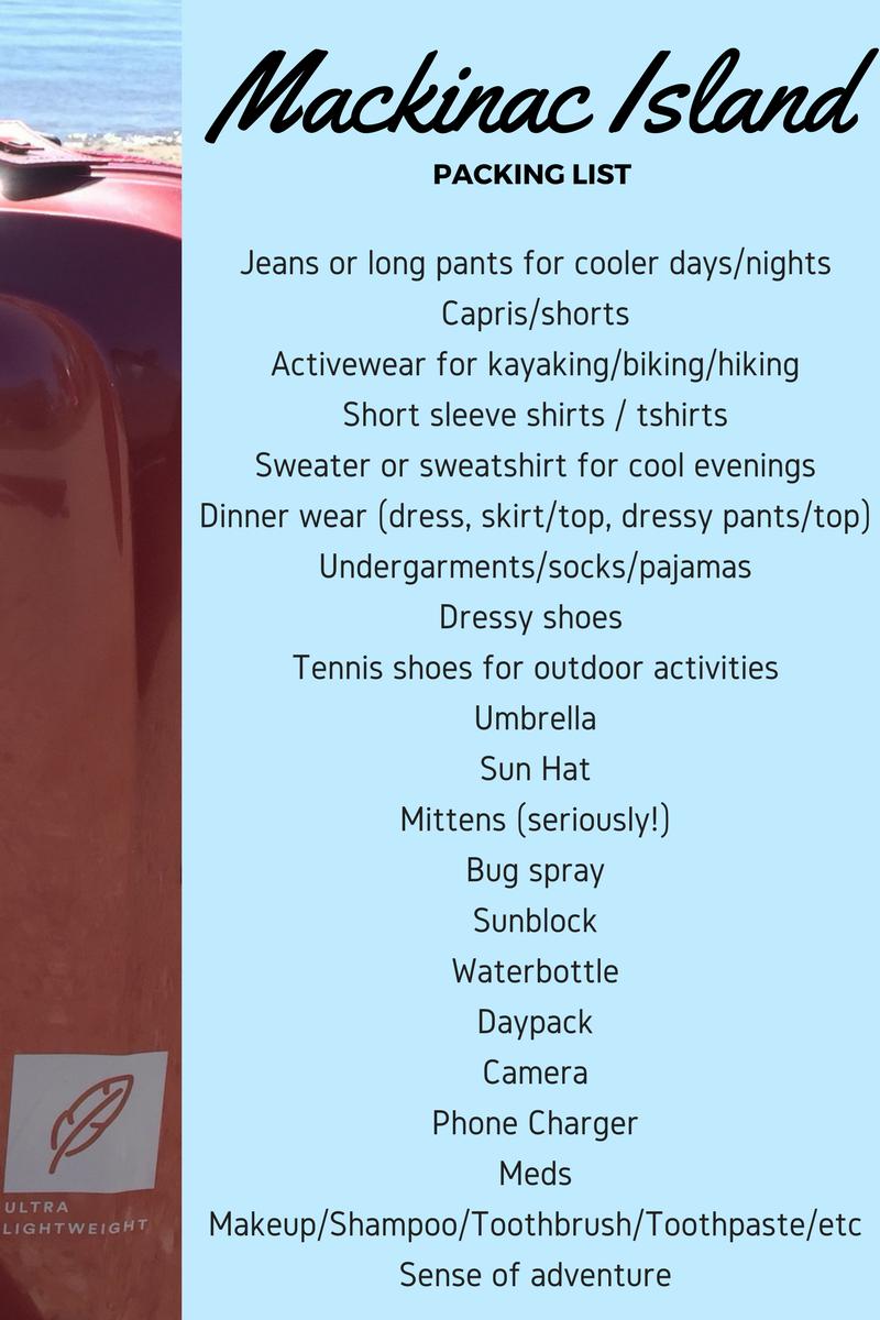 Mackinac IslandPacking List (1)
