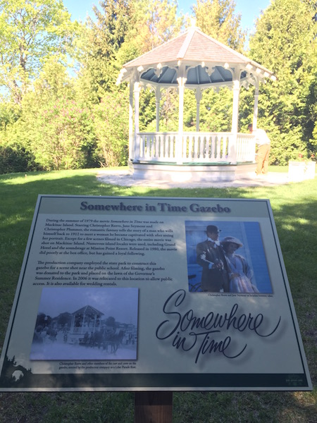 Somewhere in Time Gazebo and historic marker on mackinac island