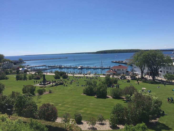 view of the park and the straits of mackinac from Fort Mackinac On Mackinac Island20