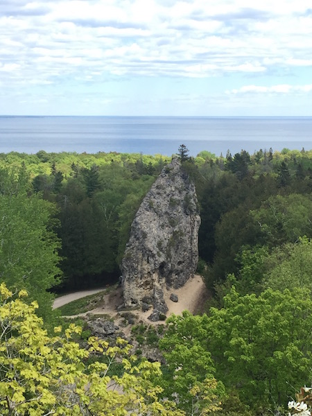 sugar loaf rock formation on mackinac island