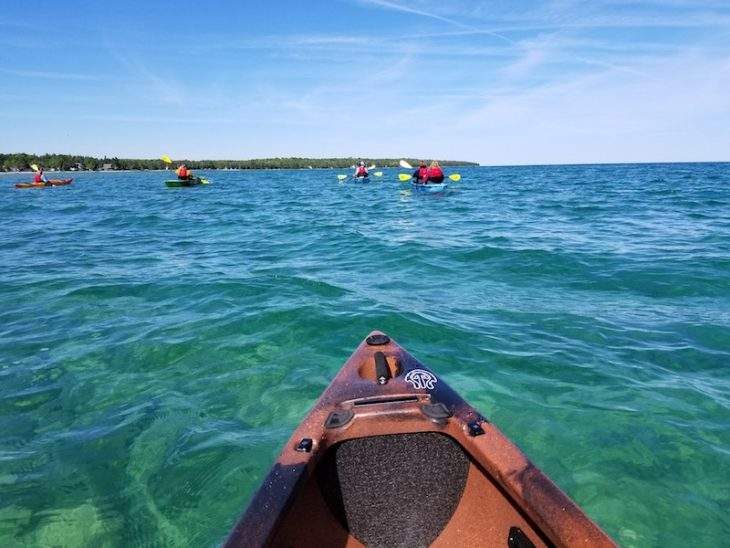 kayaking from Mackinac Island
