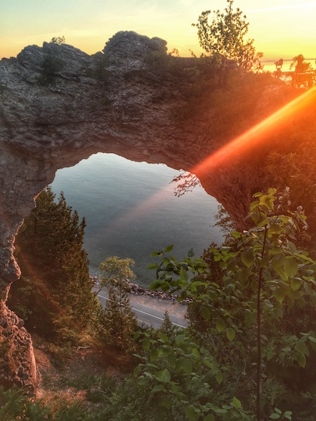 arch rock at sunrise On Mackinac Island
