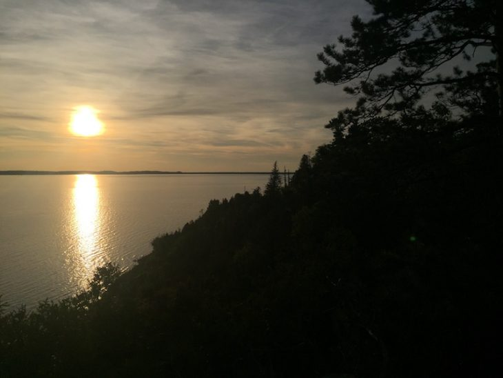 view of the sunset from sunset point on mackinac island