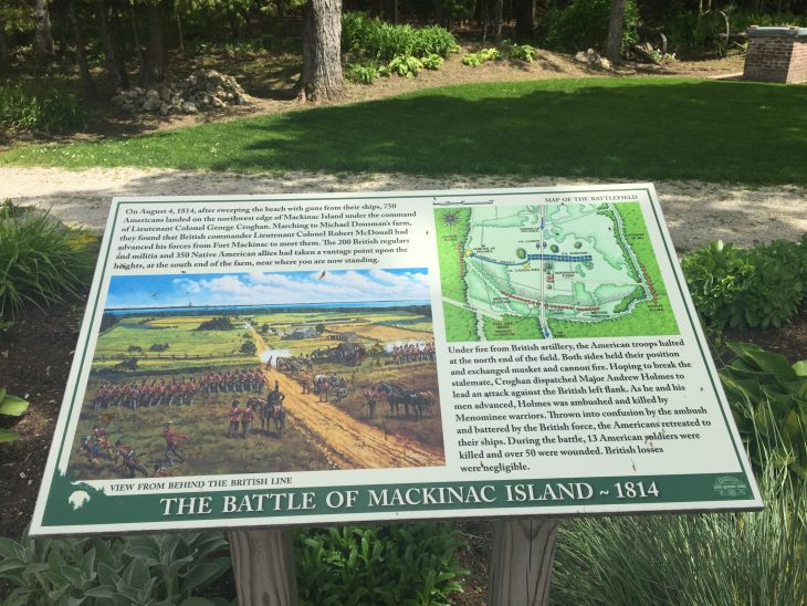 Interpretive sign describing the battle of mackinac island