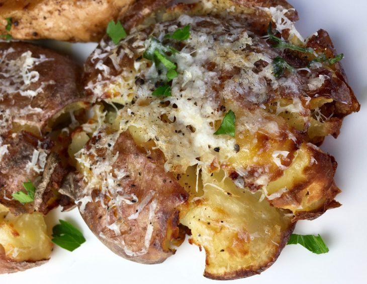 Cheesy Smashed Baked Potatoes Recipe