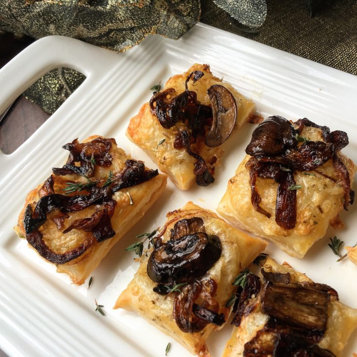 Savory Puff Pastry Bites with Caramelized Onions and Mushrooms