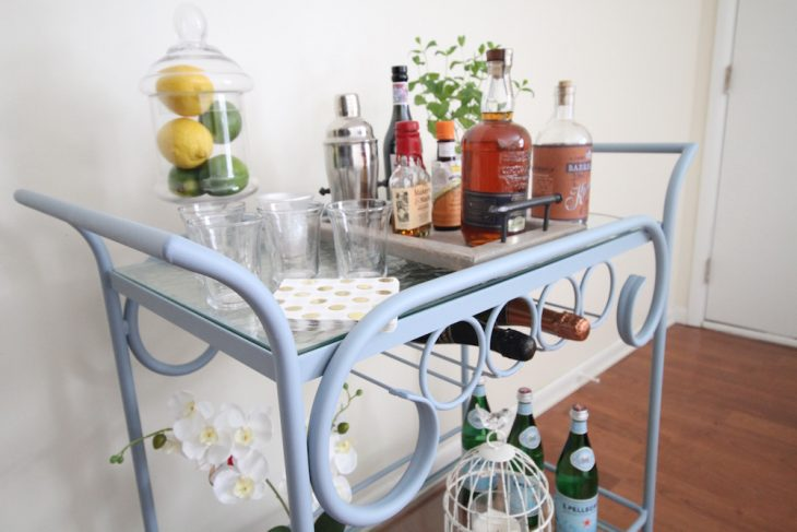 A bar car is a must for our made over living room! This is the perfect accent for a living room. Small house decorating idea. Small house diy decorating ideas.
