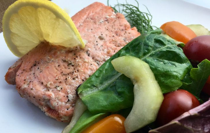 Lemon Dill Pan Fried Salmon with Herb Salad Recipe