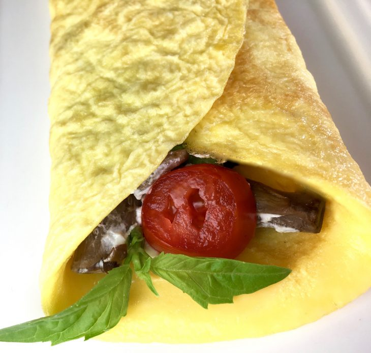 tomato & goat cheese crepes