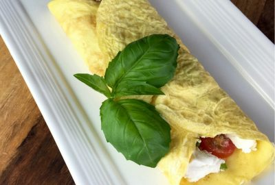 tomato and goat cheese crepe