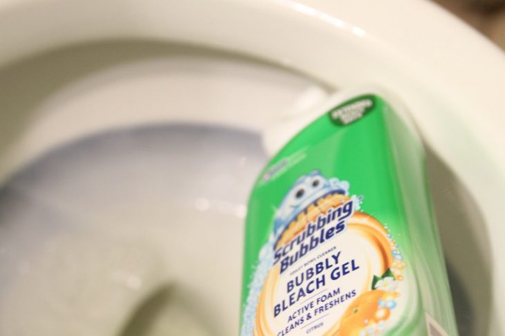 Doing the dreaded toilet cleaning but Scrubbing Bubbles makes the task not so dreadful