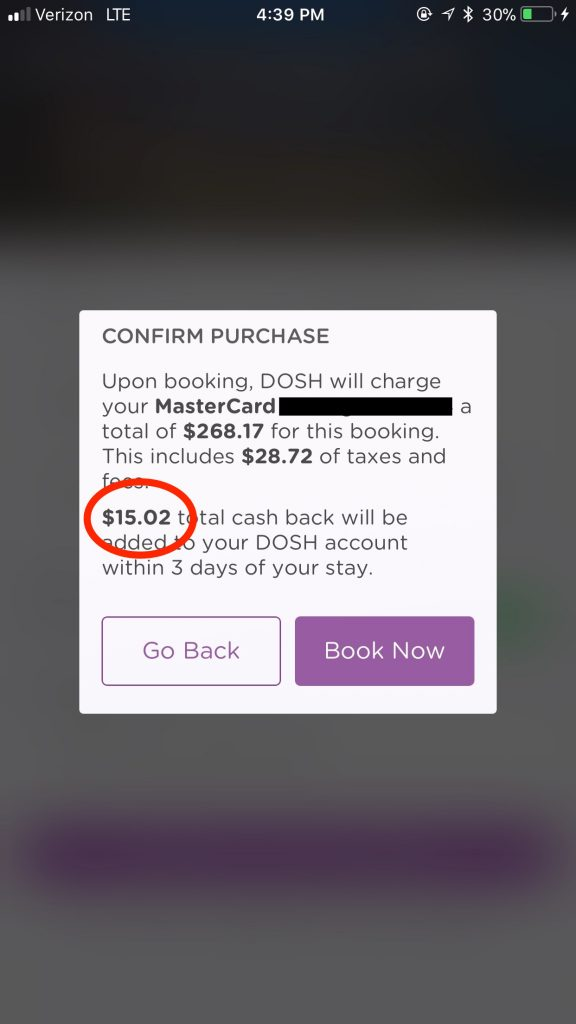 Earn cash back when you travel by using the dosh app