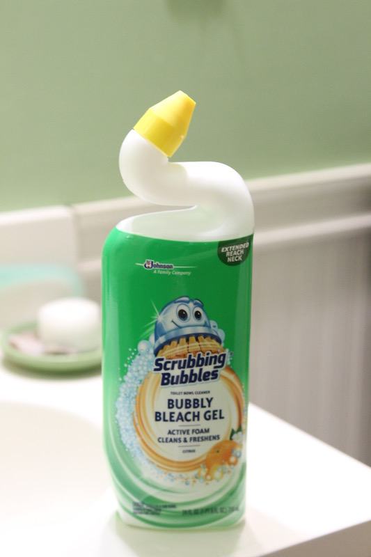 Scrubbing Bubbles makes cleaning the bathroom 100x easier.