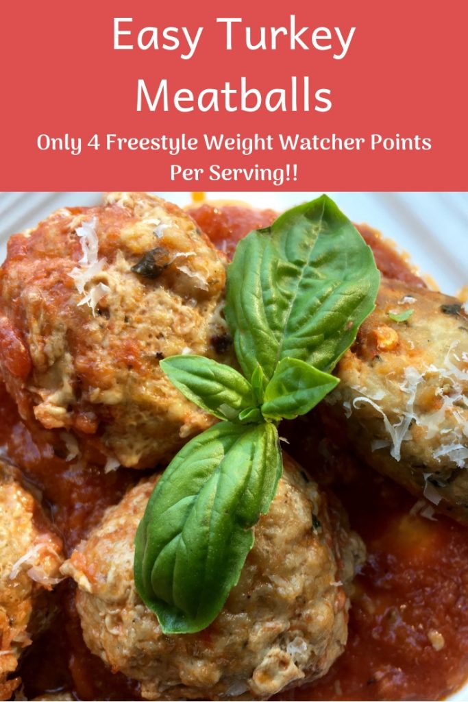 This delicious baked turkey meatballs recipe is only 4 Weight Watcher Freestyle points. Pair with zucchini noodles for a filling meal that gives you points to spare.