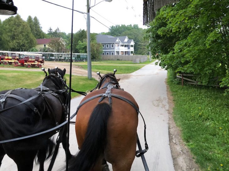 horse drawn taxi on Mackinac Island