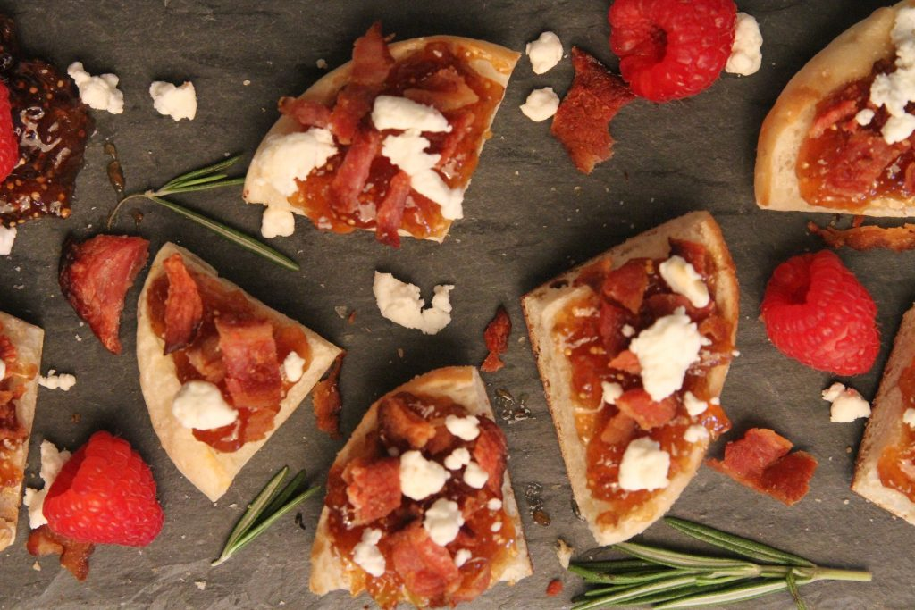 Fig & Bacon Bites recipe that is sure to impress your holiday guests. also showcasing how to use the bites on a party antipasti board.