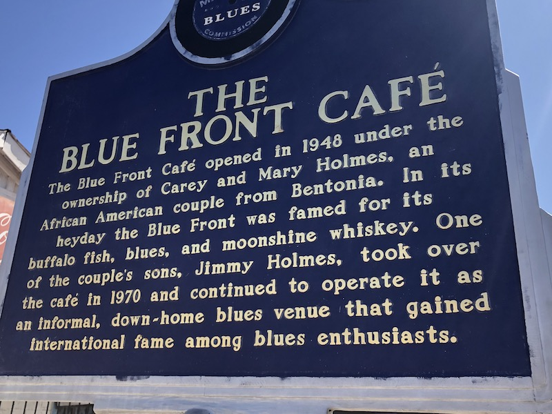 BLue Front Cafe Historic Marker SIgn Back