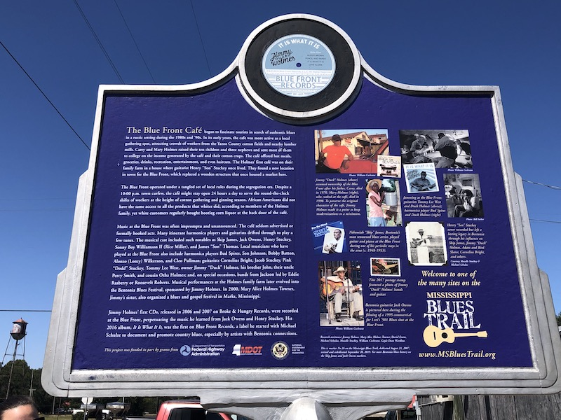 BLue Front Cafe Historic Marker SIgn