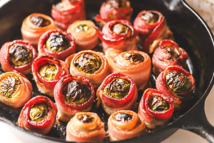Bacon Wrapped Brussels Sprouts with Balsamic Vinegar + White Cheddar