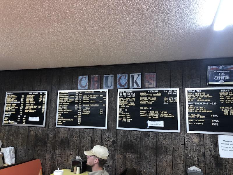 chucks dairy bar menu