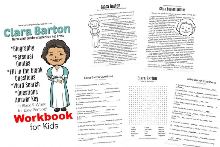 All About Clara Barton Printable Worksheets & Activities for Kids