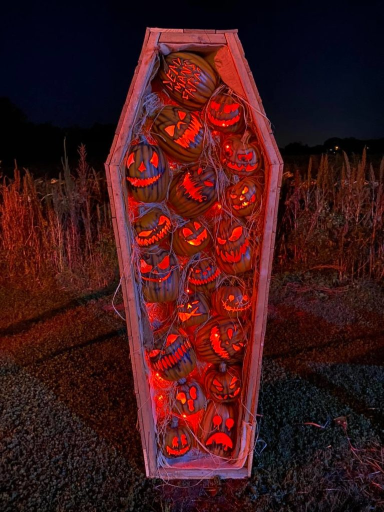 Pumpkin filled coffin