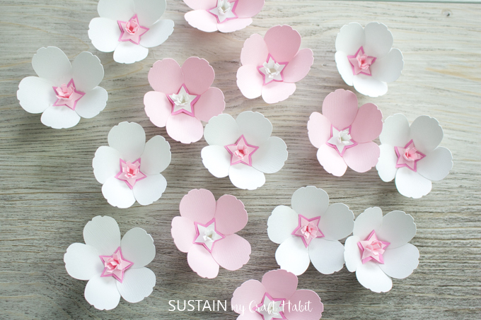 Sweet Cherry Blossom Paper Flowers with Cricut