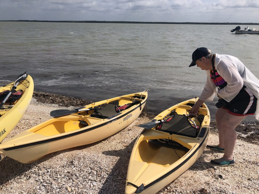 Getting ready to launch yellow kayaks in the everglades national park