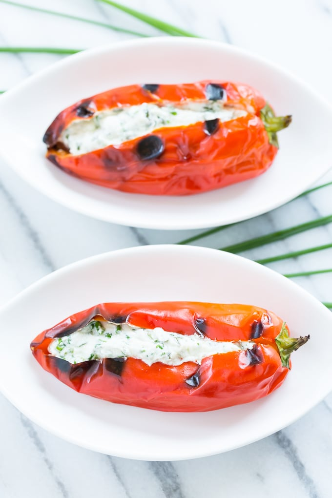 Grilled Sweet Peppers Stuffed with Herbed Goat Cheese