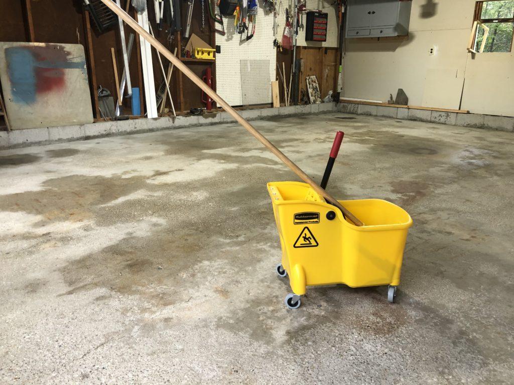 Mop bucket on garage floor