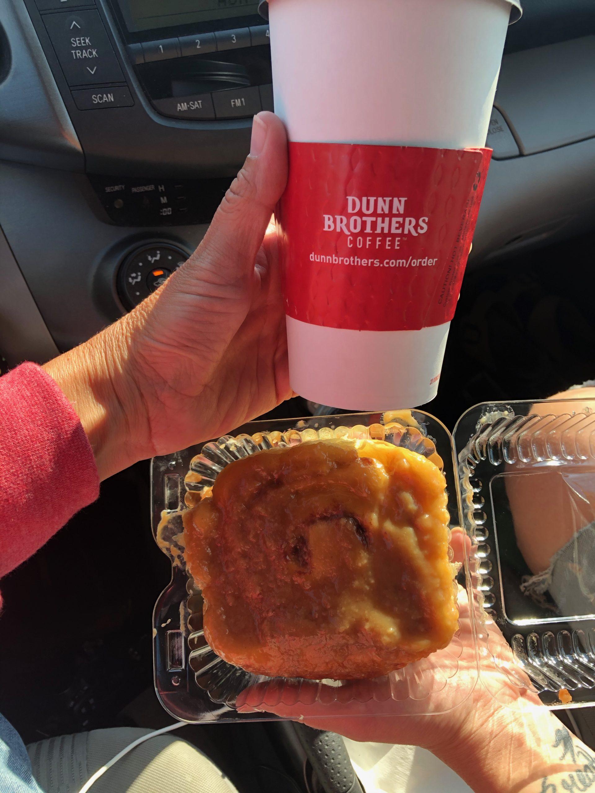 dunn bro coffee and caramel roll