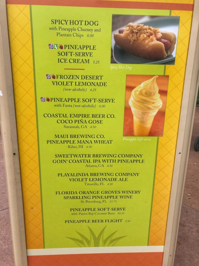 Pineapple Promenade Outdoor Kitchen Menu