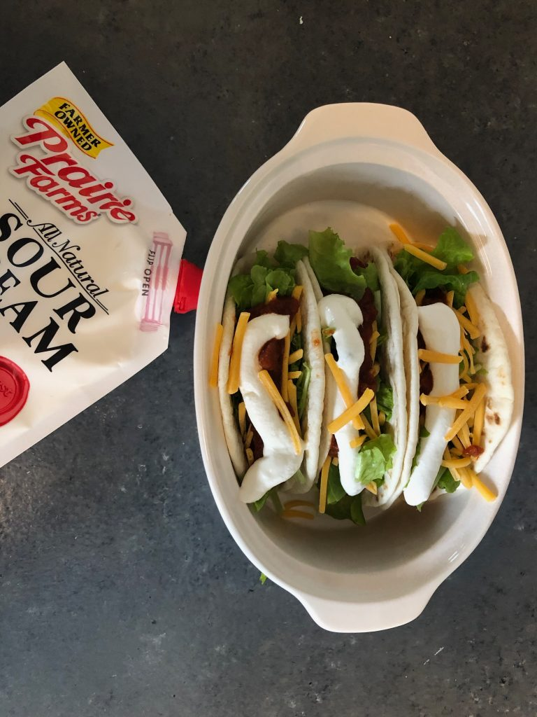 Prairie Farms Squeeze Sour Cream Pouch Street Tacos side