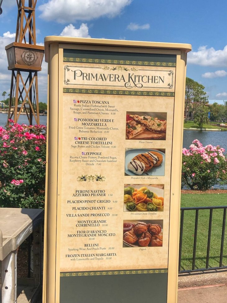 Primavera Kitchen Outdoor Kitchen Menu