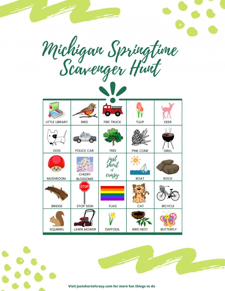 Michigan Springtime Scavenger Hunt